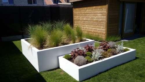 Polyester plantenbakken 200x200x60 cm en 223x100x32 cm zuiver wit
