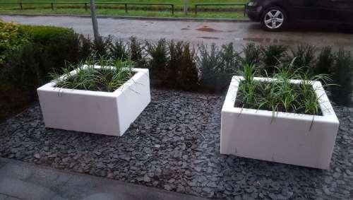 Polyester plantenbak 80x80x40 cm zuiver wit (ral 9010)
