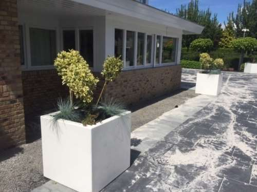 Polyester plantenbakken 80x80x60 cm zuvier wit (ral 9010)