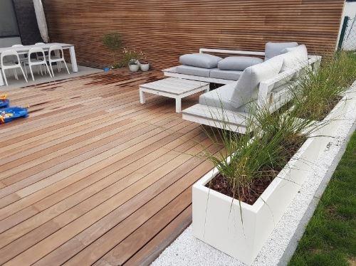 Polyester plantenbakken Serenti 120x40x40 cm zuiver wit (ral 9010)