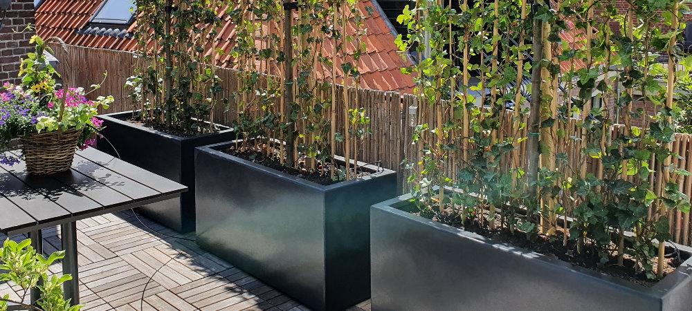 Verrijdbare terrasafscheiding? Laat wielen verzonken monteren onder je plantenbak!