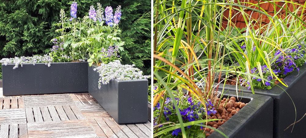 Geef je dak terras een moderne uitstraling met zwarte plantenbakken