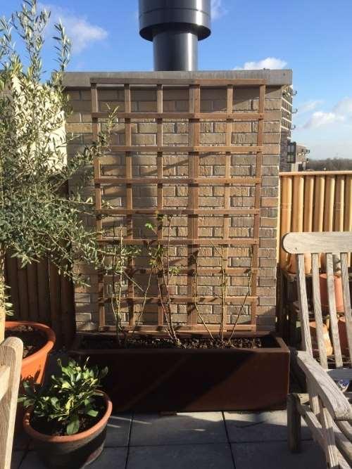 Polyester plantenbak 120x25x35 cm in ral 8017