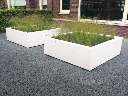 Polyester plantenbakken 160x160x50 cm in ral 9003 (wit)