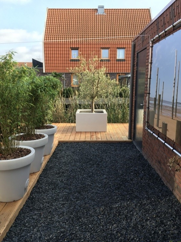 Polyester plantenbak 100x100x60 cm hoogglans wit