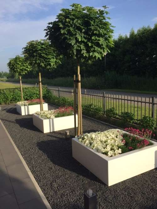 Polyester plantenbak Lupine 120x120x40 cm zuiver wit (ral 9010)