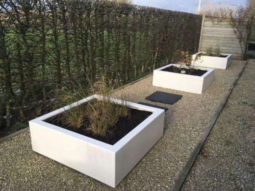 Polyester plantenbakken 120x120x40 cm zuiver wit.