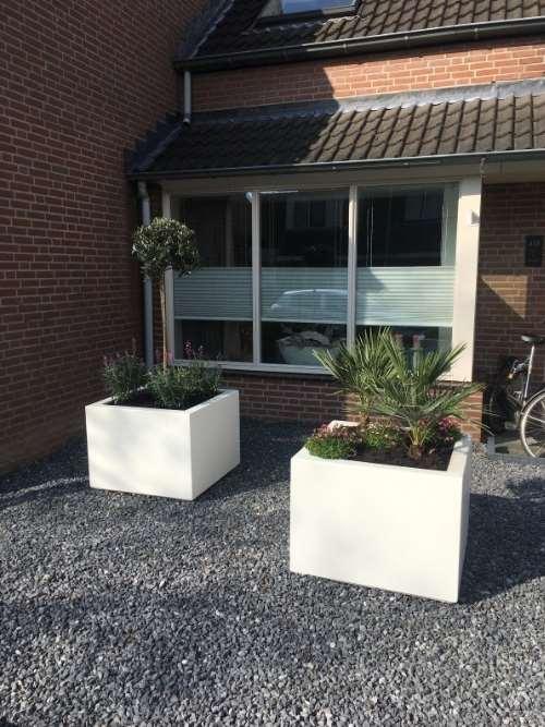 Polyester plantenbak Lupine 80x80x60 cm zuiver wit.