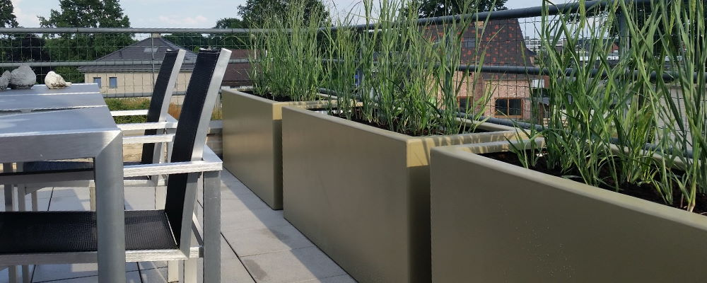 Langwerpige polyester plantenbakken maatwerk