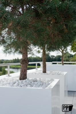 Fiberstone plantenbak hoogglans wit