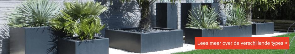 Bekijk ons assortiment mat antraciet-zwarte polyester plantenbakken